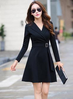 Street Autumn Black Notched Belted Skater Dress