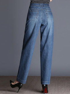Brief Denim High Waist Wide Leg Pants