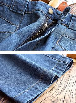 Brief Denim High Waisted Wide Leg Pants