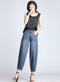 Trendy Denim High Waist Harem Pants