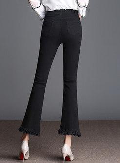 Chic Black Holes Rough Selvedge Slit Slim Flare Pants