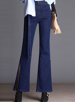 Solid Color Elastic Belted Side-slit Flare Pants