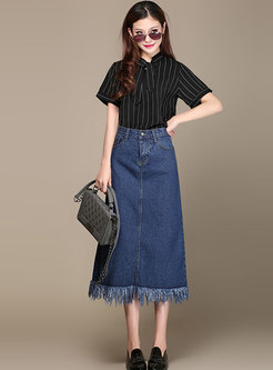 Brief Denim Tassel Patch Slim Long Skirt