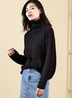 Solid Color Loose High Neck Knitted Twist Sweater