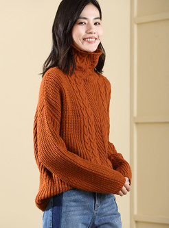 Solid Color High Neck Long Sleeve Loose Sweater