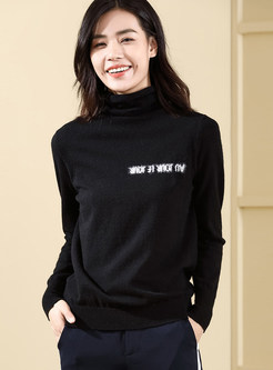 Color-blocked Letter Print Loose High Neck Sweater