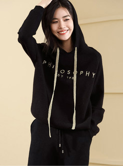 Loose Letter Print Hooded Drawstring Knitted Sweatshirt