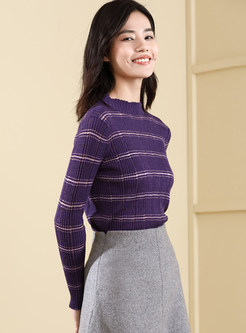 Brief O-neck Hollow Out Striped Bottoming Sweater