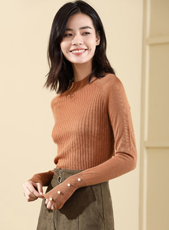 Half High Neck Solid Color Beaded Sweater