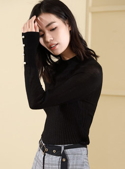 Pure Color Long Sleeve Slim Pullover Sweater