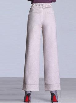 Winter Elegant Beige Color-block Elastic Waist Wide-leg Pants