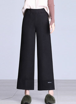 Winter Black Hairy Wide Leg Pants With Tipped Detail