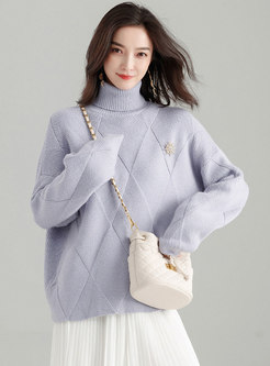 Autumn Light Purple High Neck Loose Twist Sweater