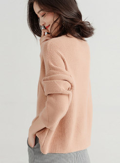 Autumn Apricot Thick Line High Neck Loose Knitted Sweater