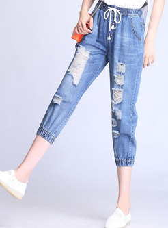 Denim Elastic Waist Holes Harem Pants