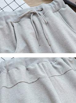 Casual Letter Print Elastic Waist Slim Harem Pants