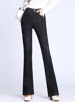Stylish Denim High Waist Elastic Slim Flare Pants