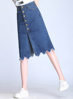 Chic Denim Single-breasted Slit Asymmetric Skirt