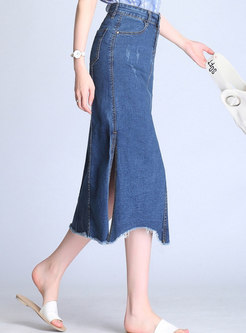 Stylish Denim High Waist Elastic Asymmetric Skirt