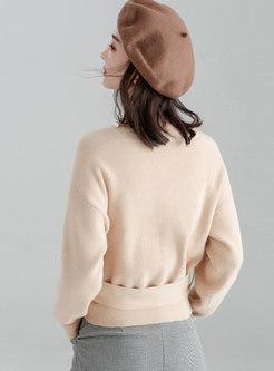 V-neck Slim Pullover Cropped Sweater