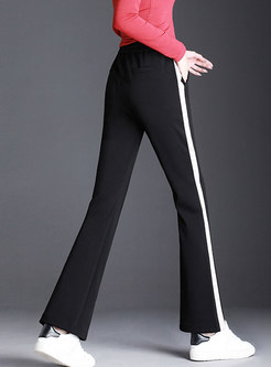 Casual Sports Black Side-Split Flare Pants