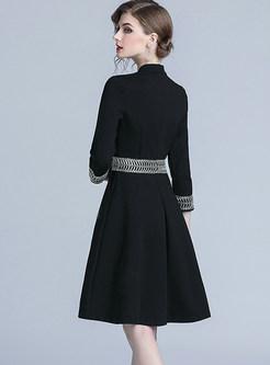 Stylish V-neck Embroidered Waist Skater Dress