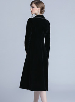 Notched Single-breasted Long A Line Coat