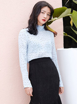 Chic Ruffled Collar Polka Dot Chiffon Blouse