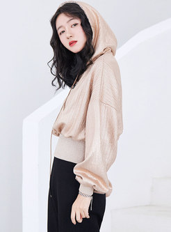 Chic Solid Color Hooded Lantern Sleeve Short Hoodie