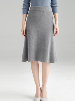 Grey High Waist All Matched Knitted Bodycon Skirt