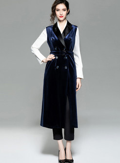 Trendy Notched Tie-waist Double-breasted Velvet Vest