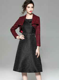 Lapel Woolen Short Coat & Slim Bottoming Dress