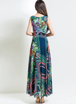 Stylish Oversize High Waist Print Maxi Dress