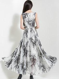 V-neck Bamboo Print Big Hem Maxi Dress