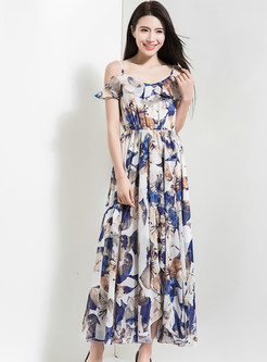 Bohemia Off Shoulder Print Beach Maxi Dress