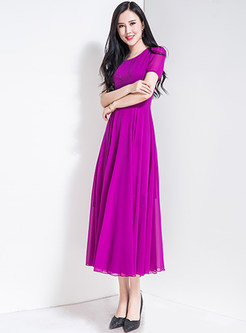 Brief Pure Color Waist Maxi Dress
