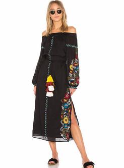 Bohemia Embroidery Slash Neck A-line Dress