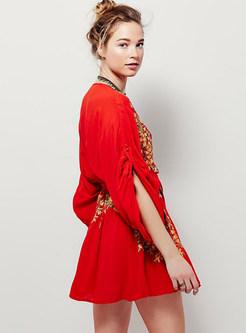 Red Bohemia Embroidery Deep V-neck Mini Dress