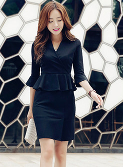 Fashion V-neck Flare Sleeve Cotton Dress