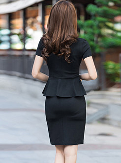 Street Notched Short Sleeve Slim Dress