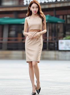 Apricot Sleeveless Square Neck Waisted Dress