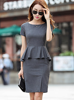 Short Sleeve Work Sheath Peplum Dress
