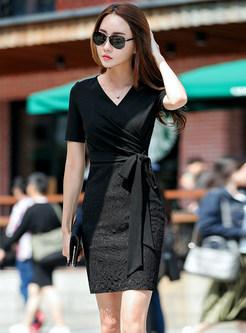 Work V-neck Short Sleeve Patchwork Lace Dress