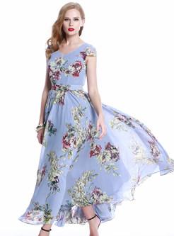 Floral Print Long Bohemian Maxi Dress