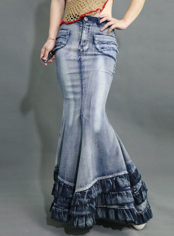 Vintage Sheath Multi-layer Big Hem Mermaid Skirt