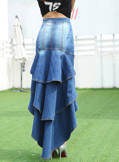 Fashion Irregular Flouncing Bodycon Denim Skirt