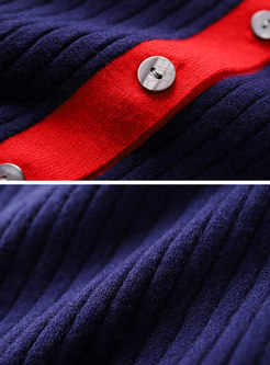 Autumn Fashion Color-block Slim Knitted Sweater