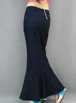 Multi-layer Falbala Pocket Denim Big Hem Skirt