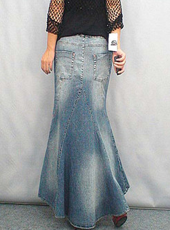 Irregular Flouncing Sheath Denim Maxi Skirt