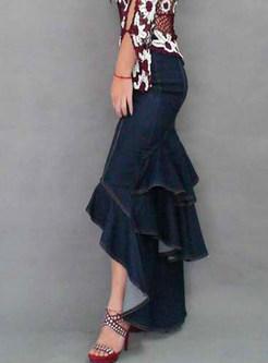 High Waisted Asymmetric Peplum Maxi Skirt
